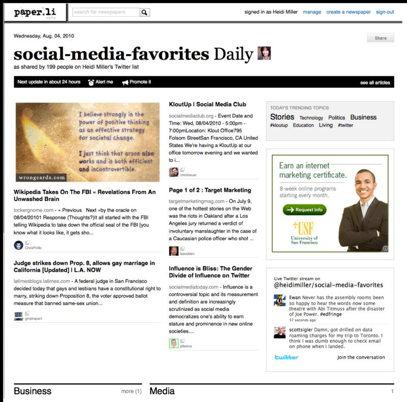 Twitter newspaper