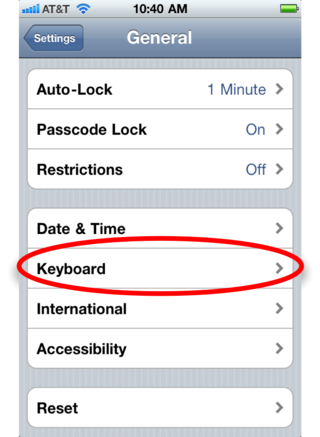 Settings keyboard