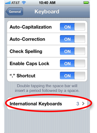 International keyboards