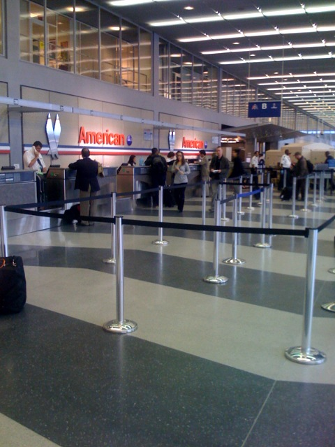 American Airlines' rebooking counter